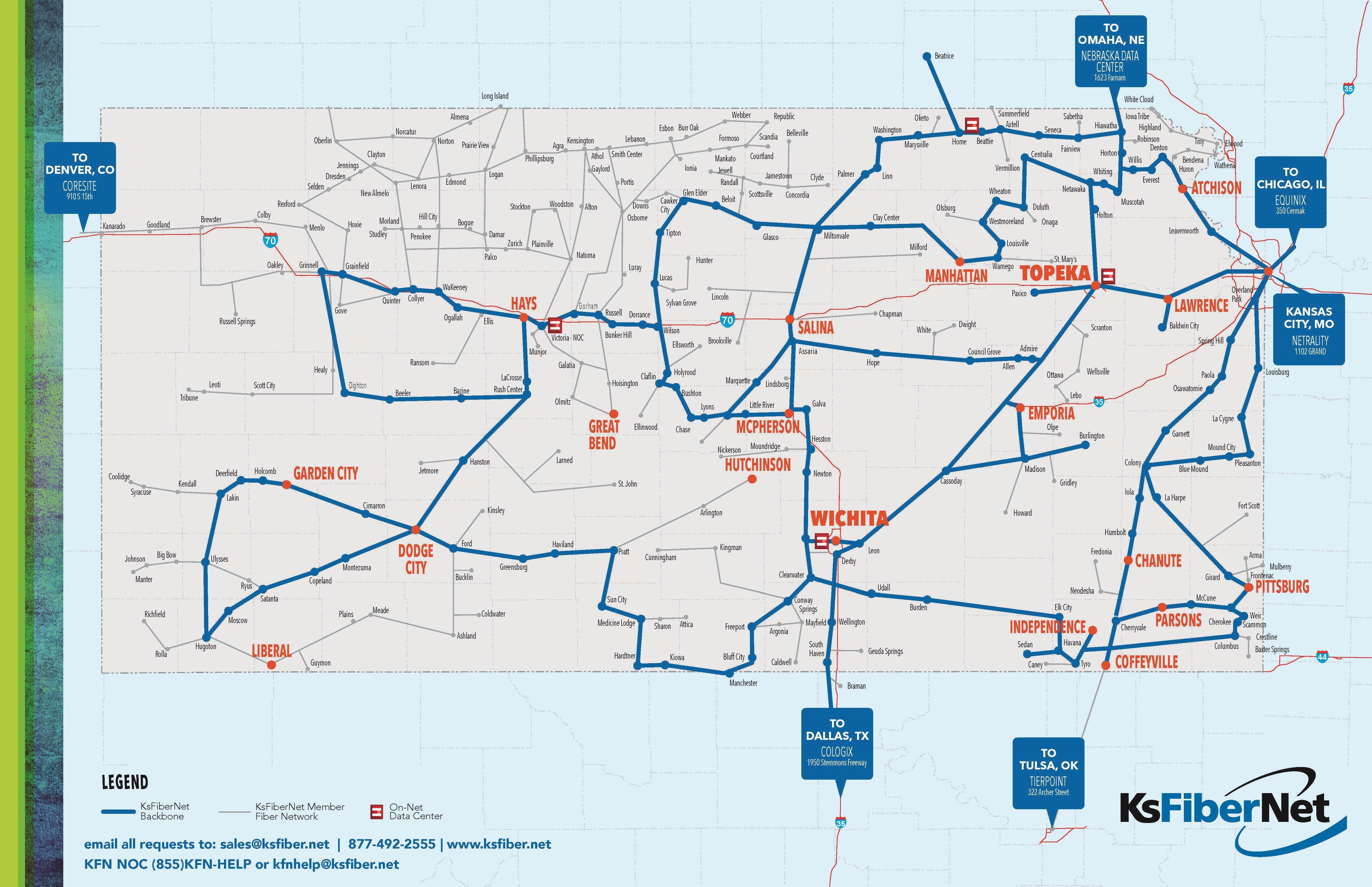 Our Fiber Network KsFiberNet - Network map page
